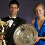 Novak Djokovic y Petra Kvitova recibieron títulos de campeones en el tenis mundial